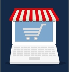 Shopping cart online laptop store market icon vector