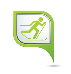 Ski track icon green map pointer copy vector