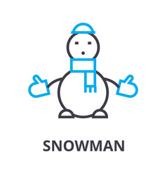 snowman thin line icon sign symbol vector image