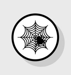 spider on web flat black vector image