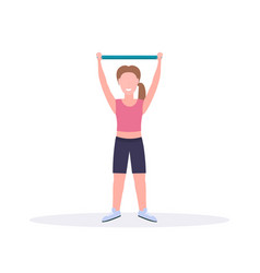 sporty woman doing exercises with resistance band vector image