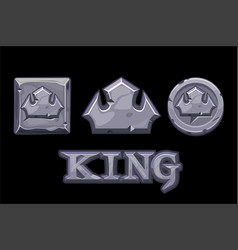 Stone logo is king crown icon square and coin vector