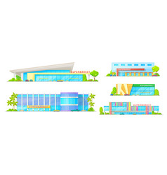 Supermarket and store buildings icons vector