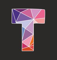 T low poly alphabet letter vector