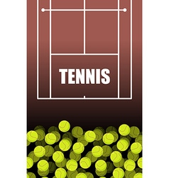 Tennis court and ball Lot of balls Tennis vector image