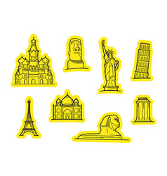 travel objects stickers stickers set vector image