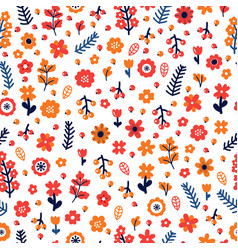 Trendy seamless floral pattern scandinavian style vector
