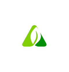 Triangle green leaf nature logo vector