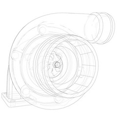 Turbocharger with wire-frame isolated on white vector