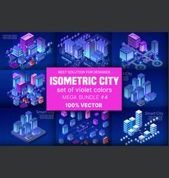 Ultraviolet isometric city vector