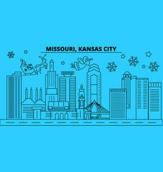 united states kansas city winter holidays skyline vector image