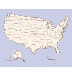 USA map with states names vector image