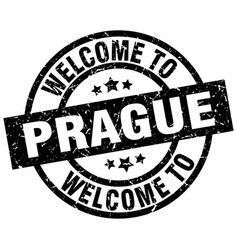 welcome to prague black stamp vector image