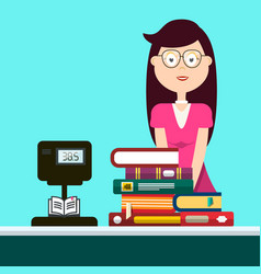 woman in book store selling books vector image