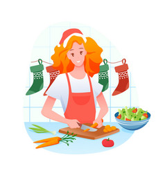woman is cooking christmas vector image