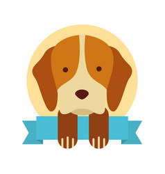 cute dog mascot with ribbon vector image vector image