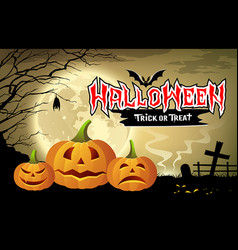happy halloween pumpkin message design vector image