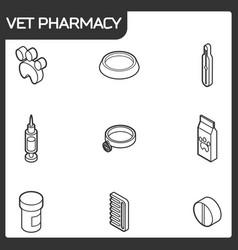 vet pharmacy outline isometric icons vector image