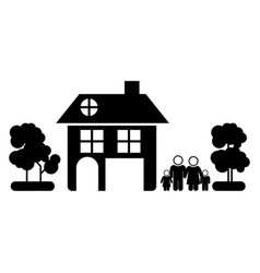 black silhouette of family away from home in white vector image