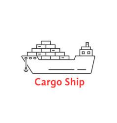 black thin line cargo ship icon vector image vector image