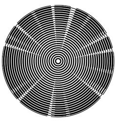 Radial black centered circles tech background vector image