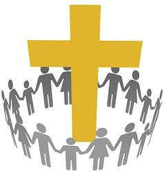Family Circle Christian Community Cross vector image