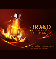 glass vial on a dark background in flames and vector image vector image