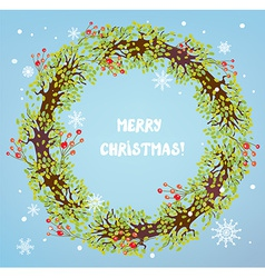 Christmas wreath with berries and snow vector image