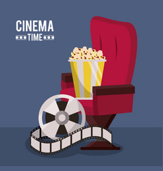 colorful poster of cinema time with cinema chair vector image