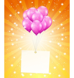 flying balloons with card vector image