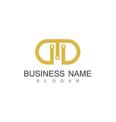 gold letter d company logo vector image