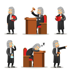 judge cartoon character set law and justice vector image vector image