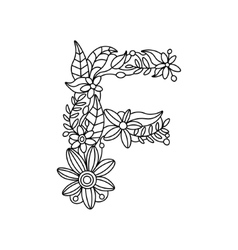 Letter F coloring book for adults vector image vector image