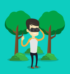 man wearing virtual reality headset in the park vector image vector image