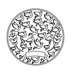 Silhouete circular pattern with pigeons vector