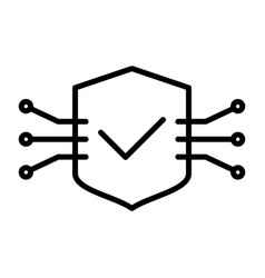 tech circuit shield line icon minimal pictogram vector image vector image