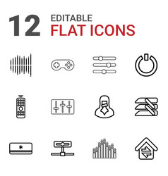 12 control icons vector