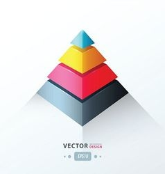 3D pyramid business Infographic pink blue yellow vector