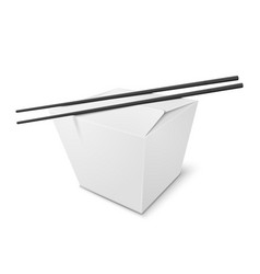 3d realistic box with chinese food sticks vector
