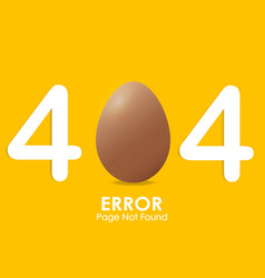404 error page not found with egg style and vector image