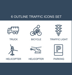 6 traffic icons vector