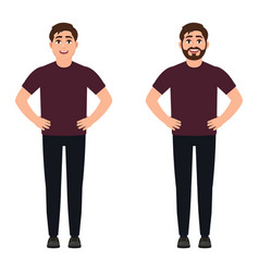 A man stands in a pose hands on his hips a happy vector