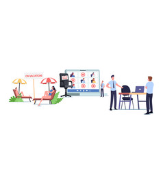 Absence management concept upset company boss vector