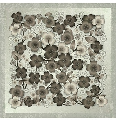 Abstract floral ornament on grey grunge background vector