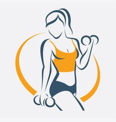 Active woman doing fitness symbol sport concept vector
