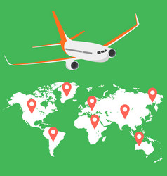airplane flying above world map around the vector image