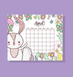 April calendar with cute rabbit animal vector