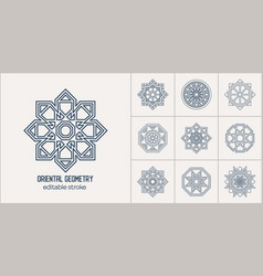 asian linear geometric symbols vector image