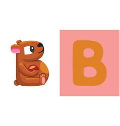 b is for bear letter b bear cute vector image