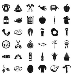 Barbecue party icons set simple style vector